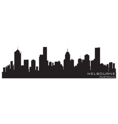 melbourne australia skyline detailed silhouette vector image