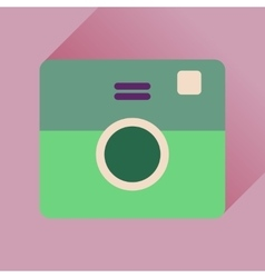 Flat icon with long shadow retro camera vector