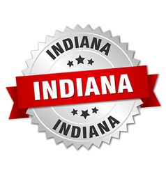 Indiana round silver badge with red ribbon vector