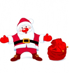 Santa with sack of gifts vector