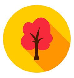Autumn tree circle icon vector