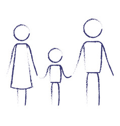 blurred blue contour of pictogram parents with a vector image