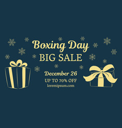 Boxing day big sale horizontal banner gold gifts vector