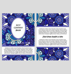 Brouchure with blue floral ornamental pattern vector