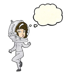 Cartoon woman wearing space helmet with thought vector