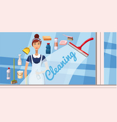 Cleaning girl banner horizontal cartoon style vector
