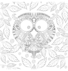 Coloring book page with zendoodle Owl in leaves vector image