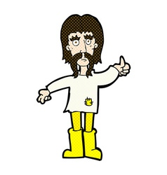 comic cartoon hippie man giving thumbs up symbol vector image vector image