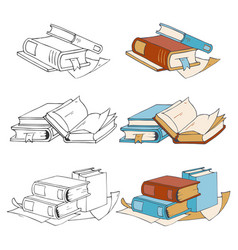 doodle hand drawn sketch books icons and coloring vector image