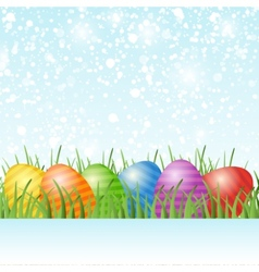 Easter card with eggs on green grass vector image vector image