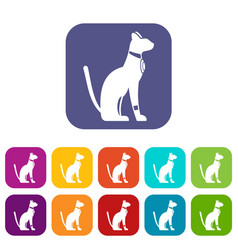 Egyptian cat icons set flat vector