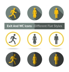 Exit and WC icons set In different flat styles vector image vector image