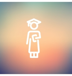 Graduation thin line icon vector image
