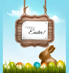 happy easter background with chocolate rabbit and vector image