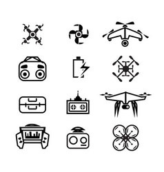 isolated linear Drone icons set of quadrocopter vector image vector image