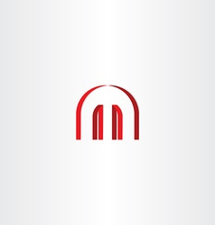 Logotype red letter m abstract symbol design vector