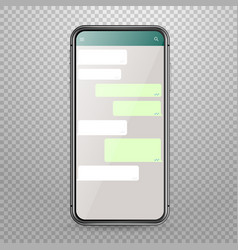 Modern smartphone mockup with messenger vector