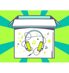 Open box with icon of headphones on gree vector