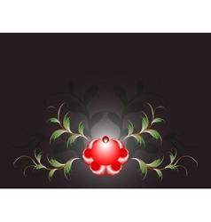 Pattern of beautiful red flower on a black base vector image