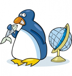 Penguin with fish vector
