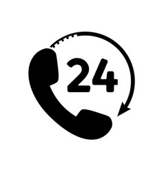 phone 24 hours icon in flat style vector image