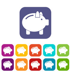 Piggy bank icons set vector