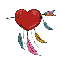 red indian heart with arrow and ornament vector image vector image