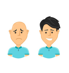 sad bald man and a happy man with a beautiful vector image