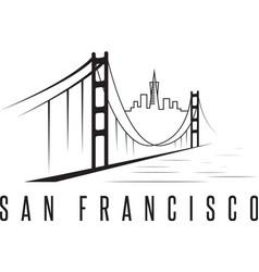 san francisco skyline and golden gate bridge vector image