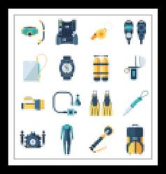 Scuba Diving and Snorkeling Icons vector image