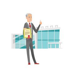 Senior caucasian businessman holding a certificate vector