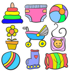 Set of baby element set various doodles vector