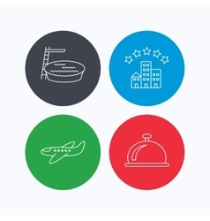Hotel swimming pool and airplane icons vector