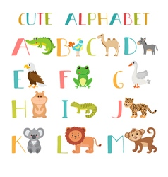 Zoo Cute cartoon animals alphabet from A to M vector image
