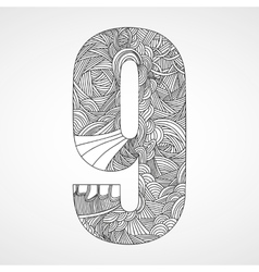 Number 9 with hand drawn abstract doodle pattern vector