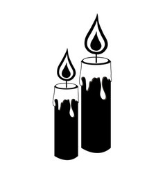 monochrome silhouette with pair of candles vector image
