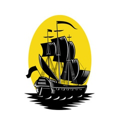 Galleon sailing ship at sea vector