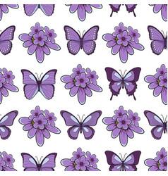 Seamless pattern with lavender flowersbutterflies vector