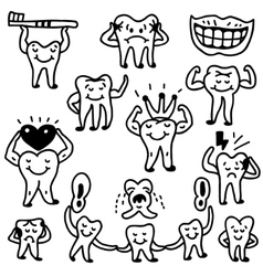 Teeth doodles vector