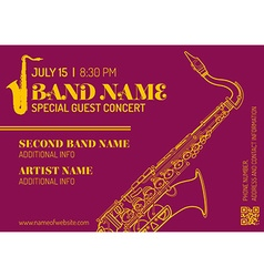 jazz music concert saxophone vertical music flyer vector image