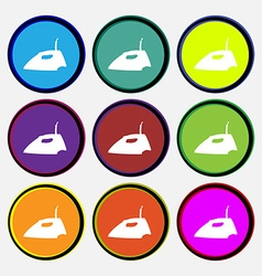 Iron icon sign nine multi colored round buttons vector