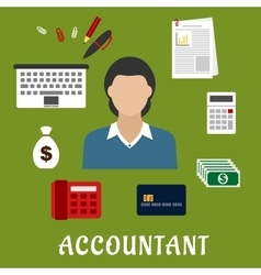 Accountant profession and objects flat icons vector image