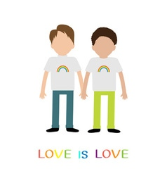 Gay family Boy couple holding hands Rainbow on vector image