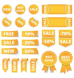 Yellow sale banners vector