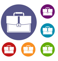 Business briefcase icons set vector