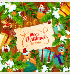 christmas banner with xmas tree and new year gift vector image