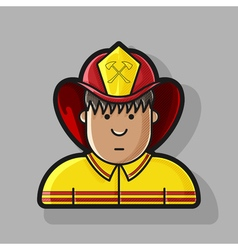 contour icon firefighter in a yellow form and a vector image vector image