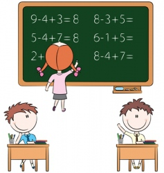Cute kids in the classroom vector
