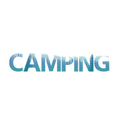 Double exposure camping text letter with pine vector