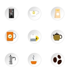 Drink icons set flat style vector